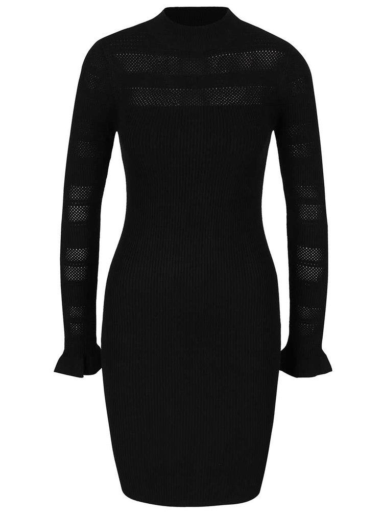 Černé svetrové šaty Miss Selfridge