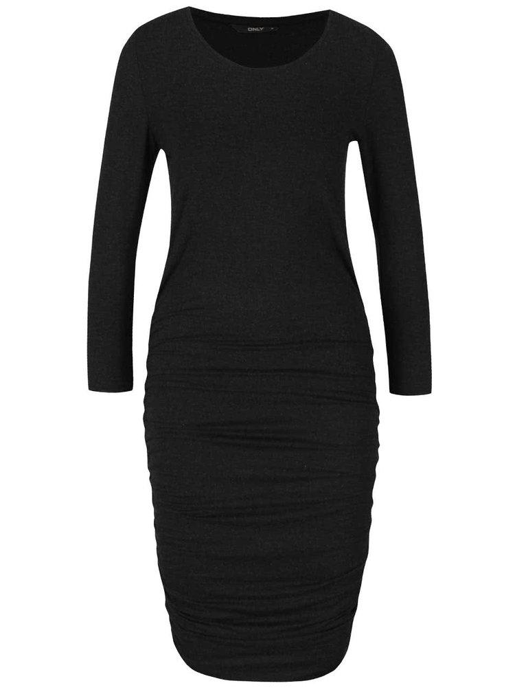 Tmavě šedé šaty s 3/4 rukávy a řasením na bocích ONLY Toa