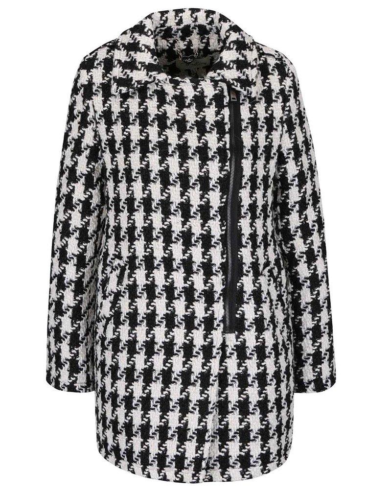 Černo-krémový vzorovaný kabát s asymetrickým zapínáním Darling Caia