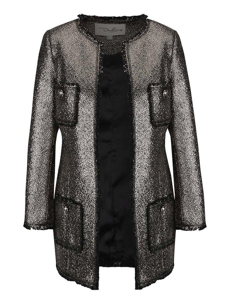 Metalický kabát ve stříbrné barvě s kapsami Darling Dulcie