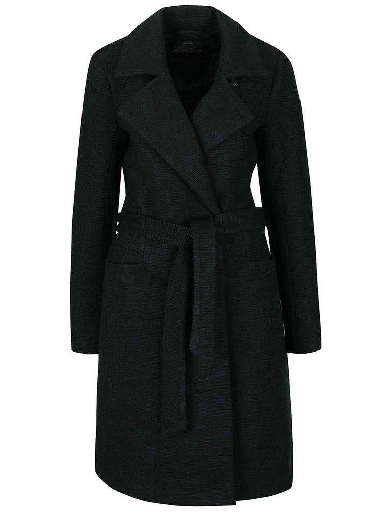 Tmavě zelený vlněný kabát s páskem ONLY Impression