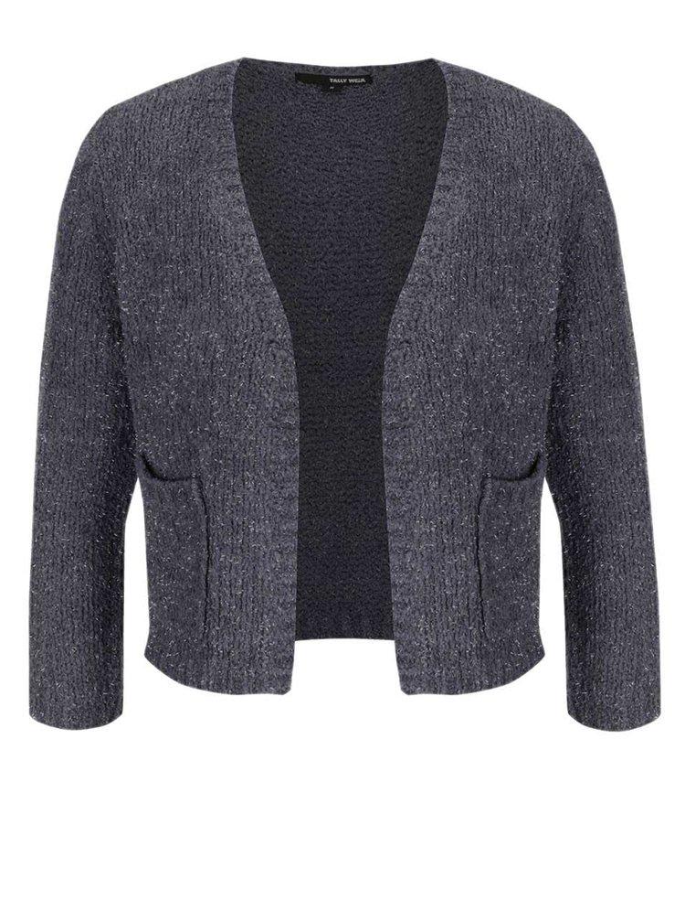 Jachetă crop gri închis cu mâneci trei sferturi TALLY WEiJL