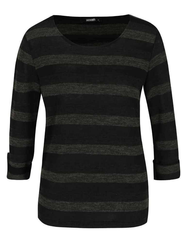 Khaki pruhované tričko s 3/4 rukávy Haily´s Lilly