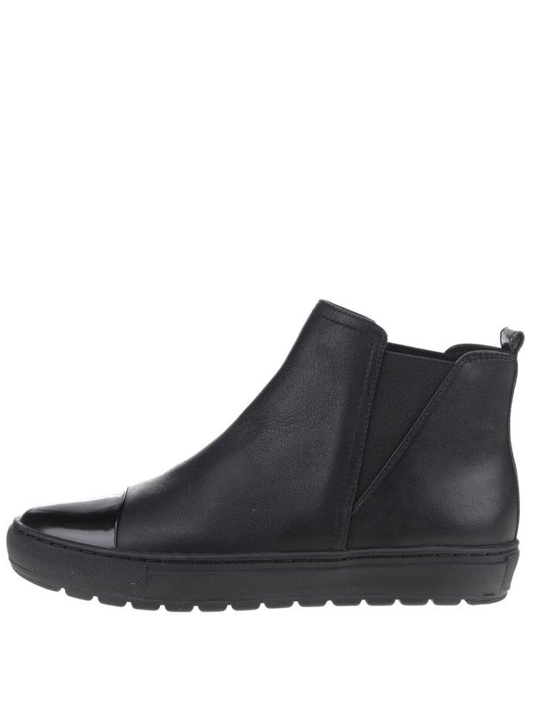 Černé dámské kožené kotníkové chelsea boty Geox Breeda