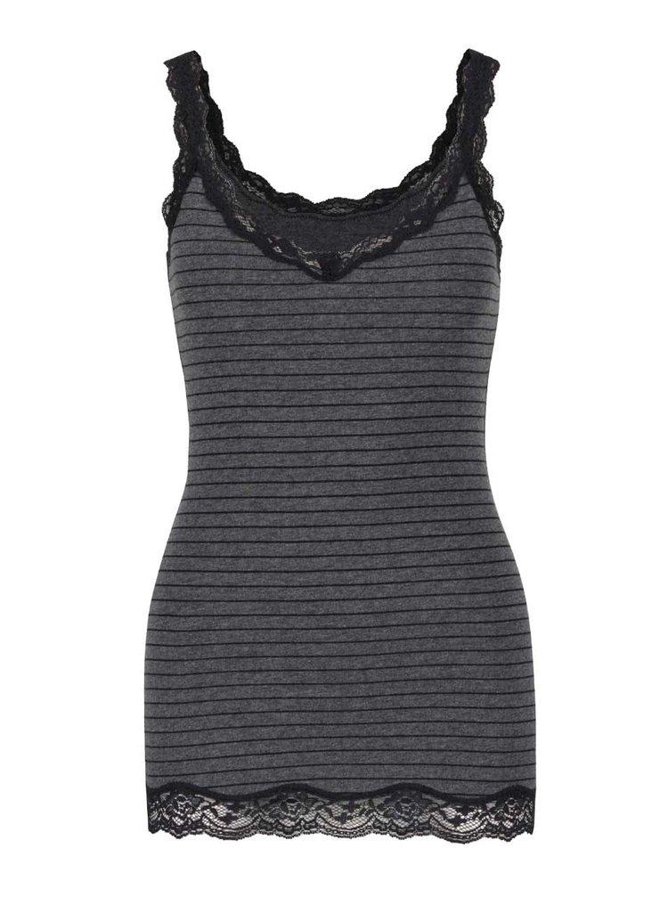 Černo-šedá pruhovaná košilka s ozdobnou krajkou DKNY