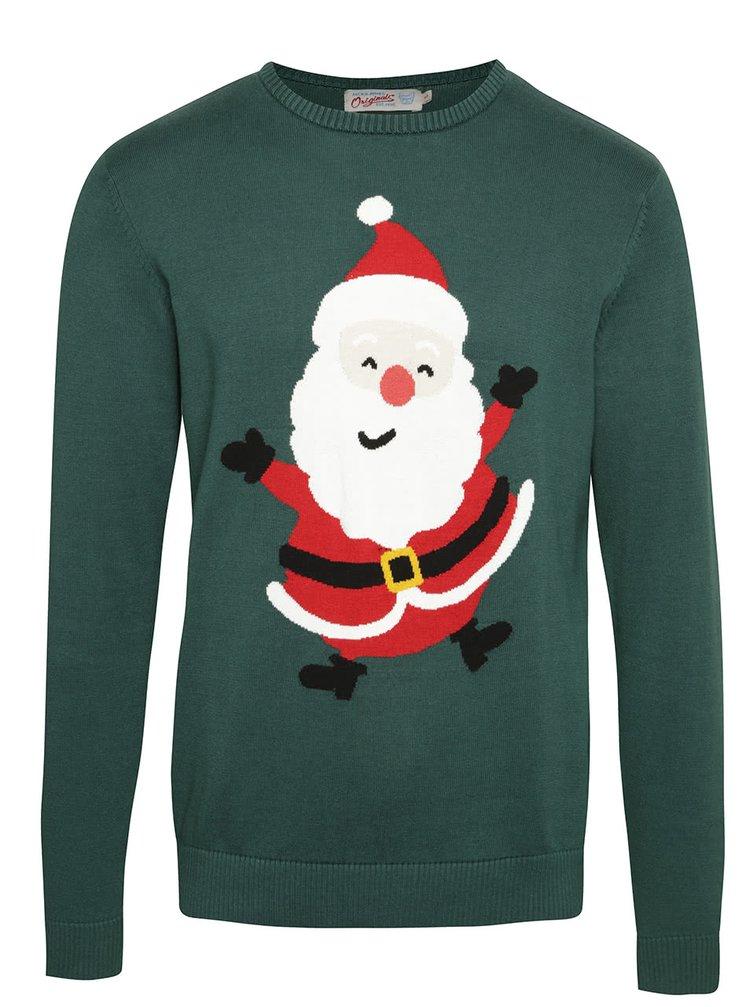 Zelený svetr se Santa Clausem Jack & Jones Festive