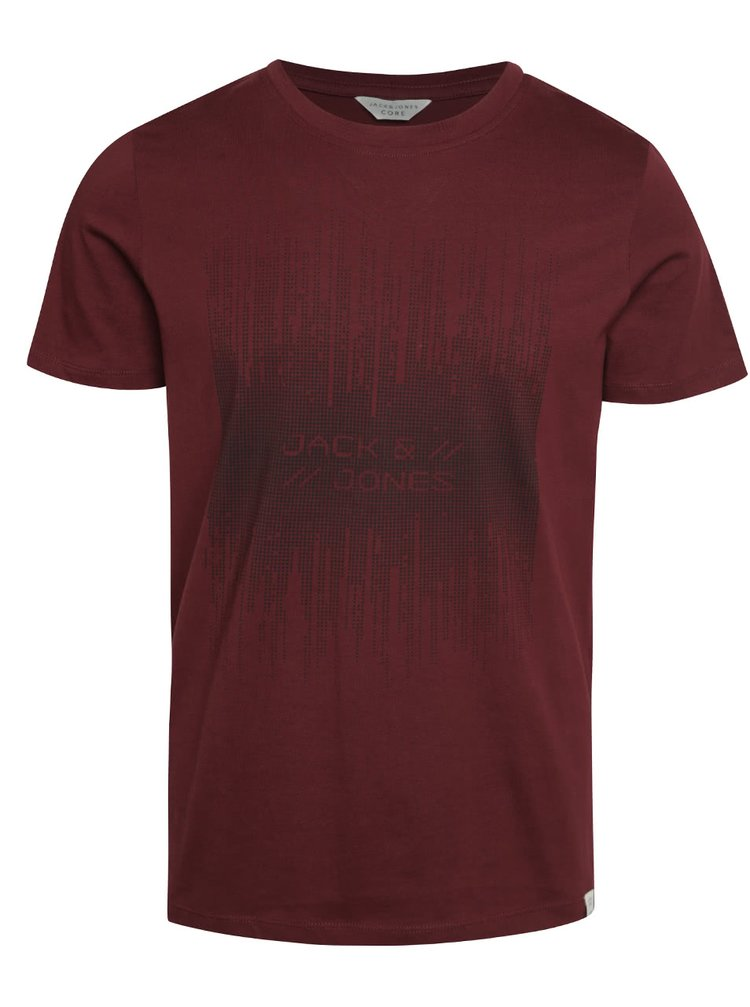 Tricou vișiniu Jack & Jones Valentino din bumbac cu print