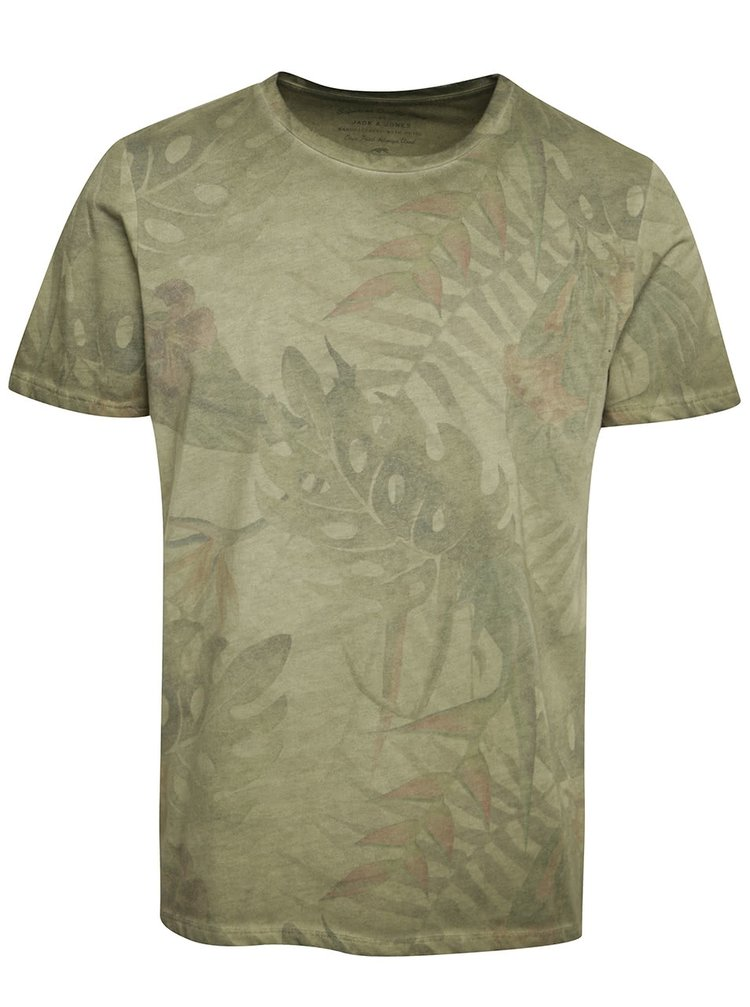 Khaki triko s krátkým rukávem Jack & Jones Leaf