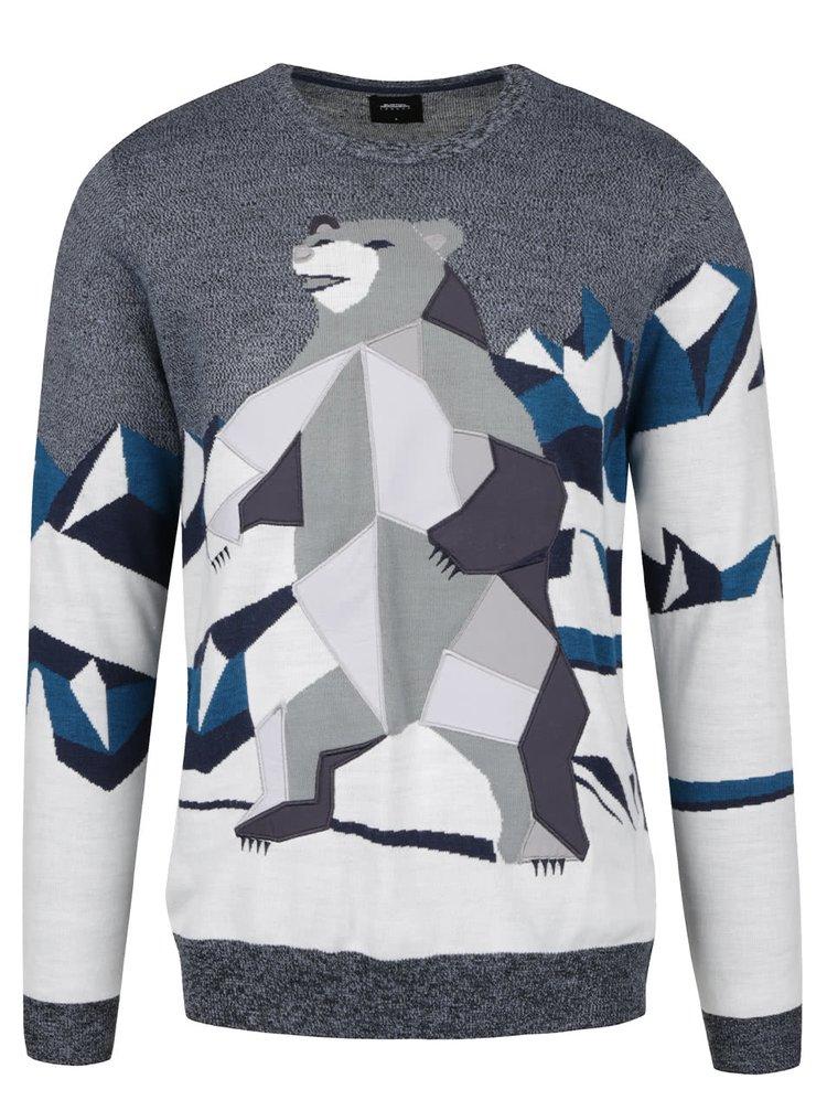 Šedomodrý svetr s motivem ledního medvěda Burton Menswear London