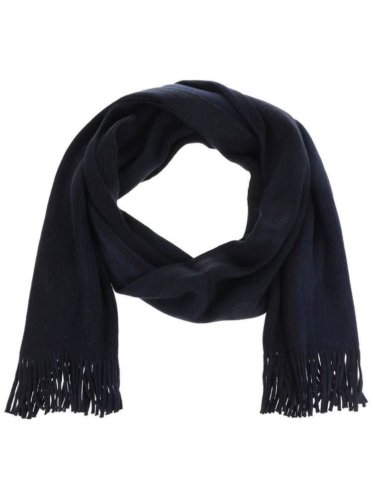 Fular albastru & negru Burton Menswear London cu franjuri