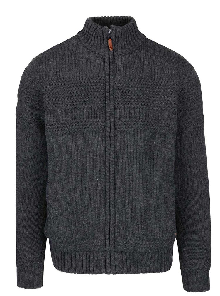 Jachetă gri închis cu model discret și fermoar Blend