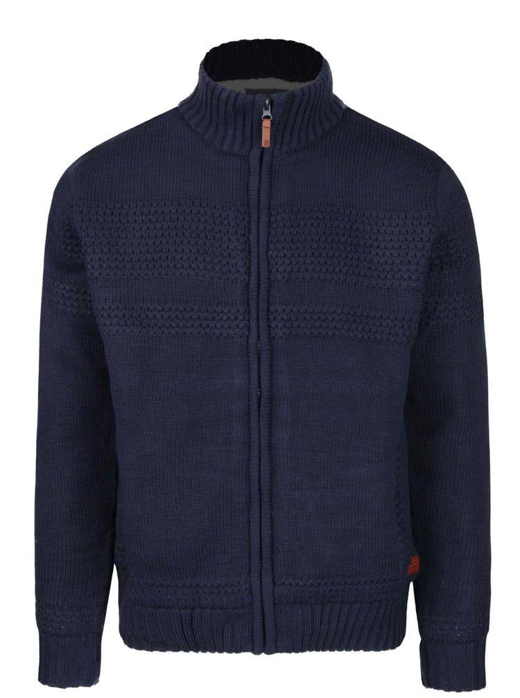 Tmavě modrý svetr na zip s podšívkou z umělého kožíšku Blend