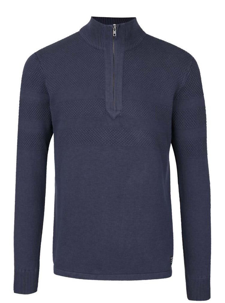 Tmavě modrý svetr se zipem Blend