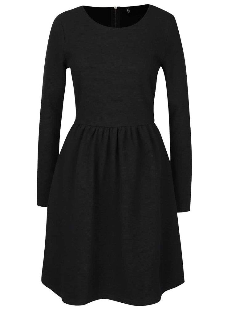 Černé šaty s dlouhými rukávy ONLY Carmen