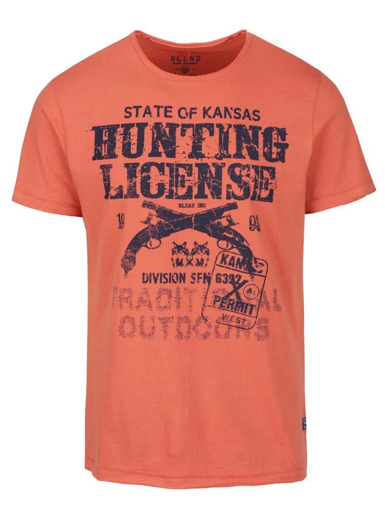 Tricou portocaliu cu imprimeu Blend