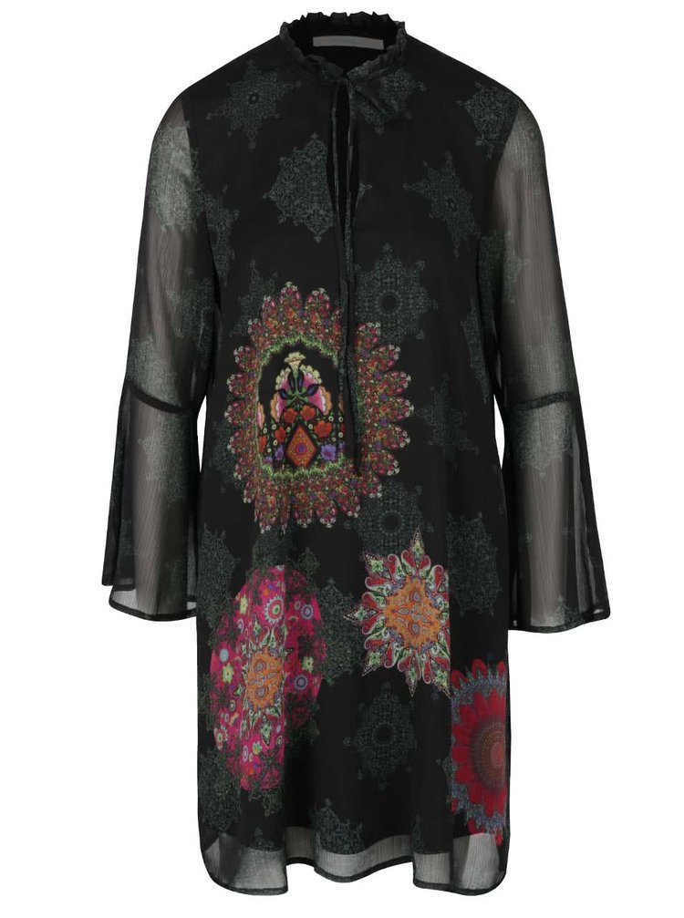 Rochie neagră cu mâneci clopot Desigual Jeanne