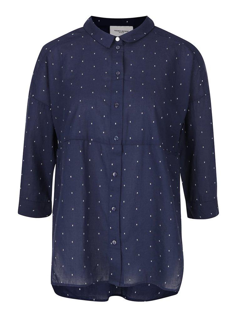 Tmavě modrá volnější košile s 3/4 rukávy a jemným vzorem VERO MODA Cille