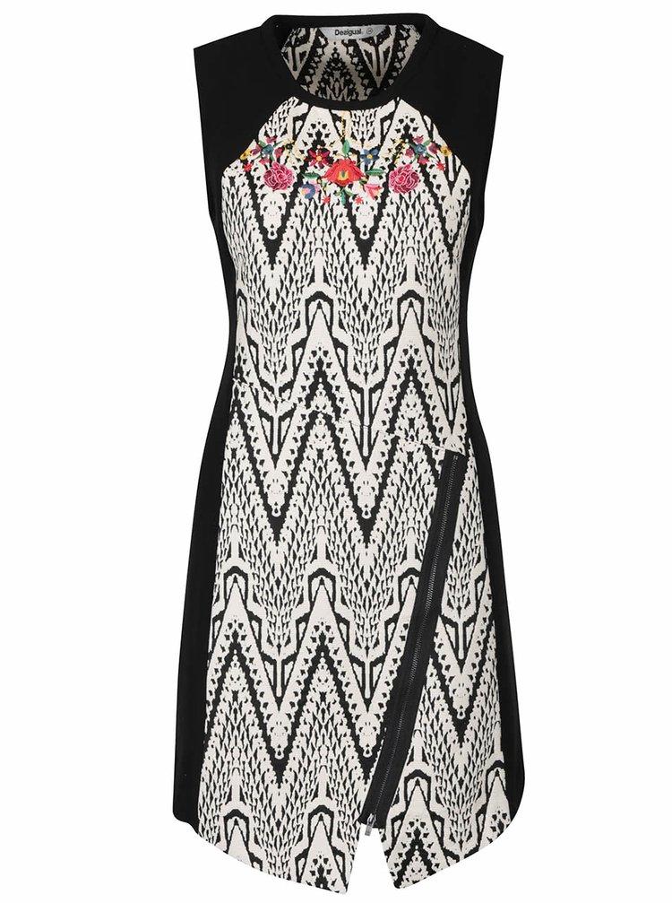 Rochie negru cu alb Desigual Oregon cu model și broderie