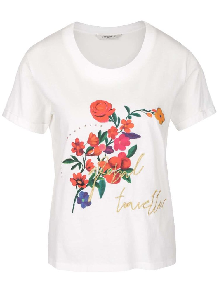 Krémové tričko s barevnými květy Desigual Marina
