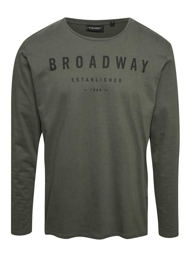 Zelené pánské triko s dlouhým rukávem Broadway