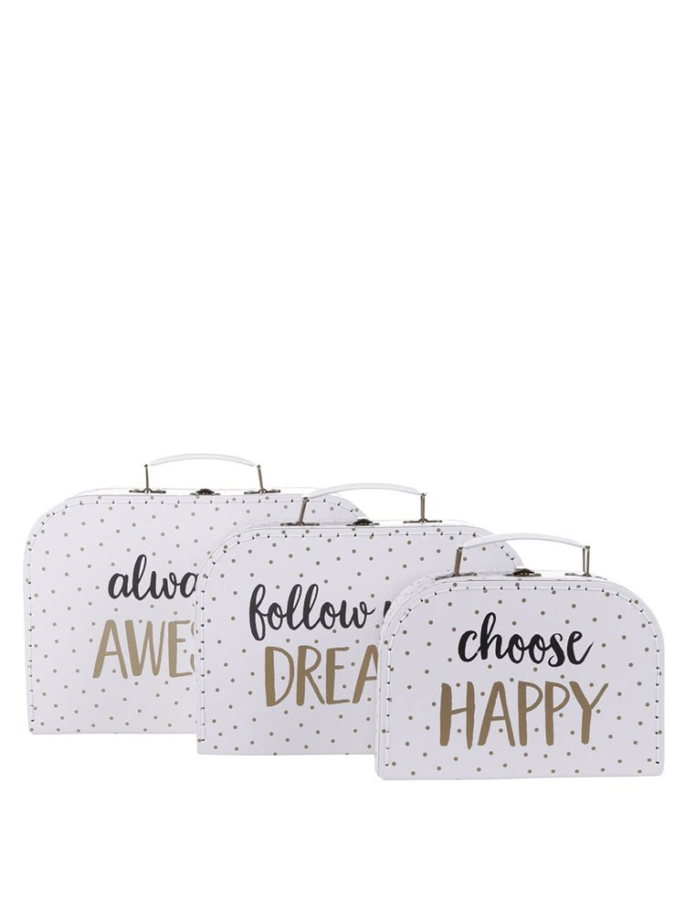 Sada tří puntikovaných kufříků v bílé barvě Sass & Belle