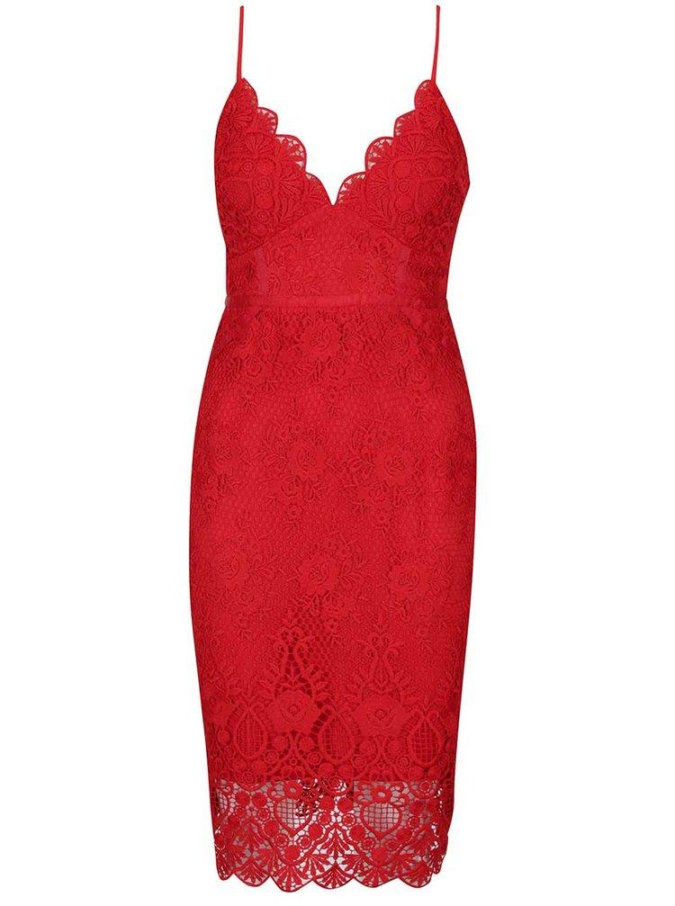 b146863ace6c ... Červené čipkované šaty s úzkymi ramienkami Lipsy