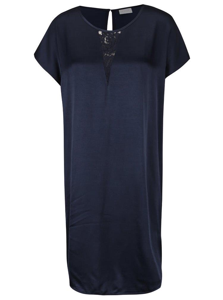 Tmavě modré šaty s krajkou v dekoltu VILA Klika