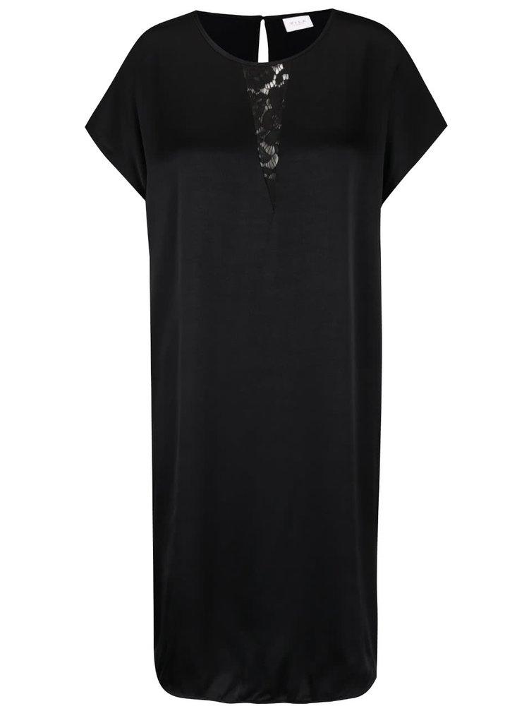 Rochie neagră cu detaliu din dantelă VILA Klika