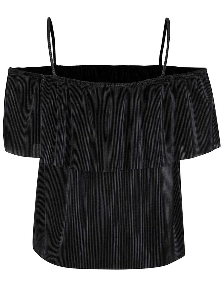 Černý třpytivý plisovaný crop top s odhalenými rameny Miss Selfridge