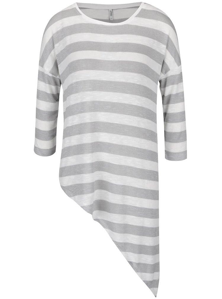 Krémovo-šedé pruhované asymetrické tričko s 3/4 rukávem ONLY Kirsten