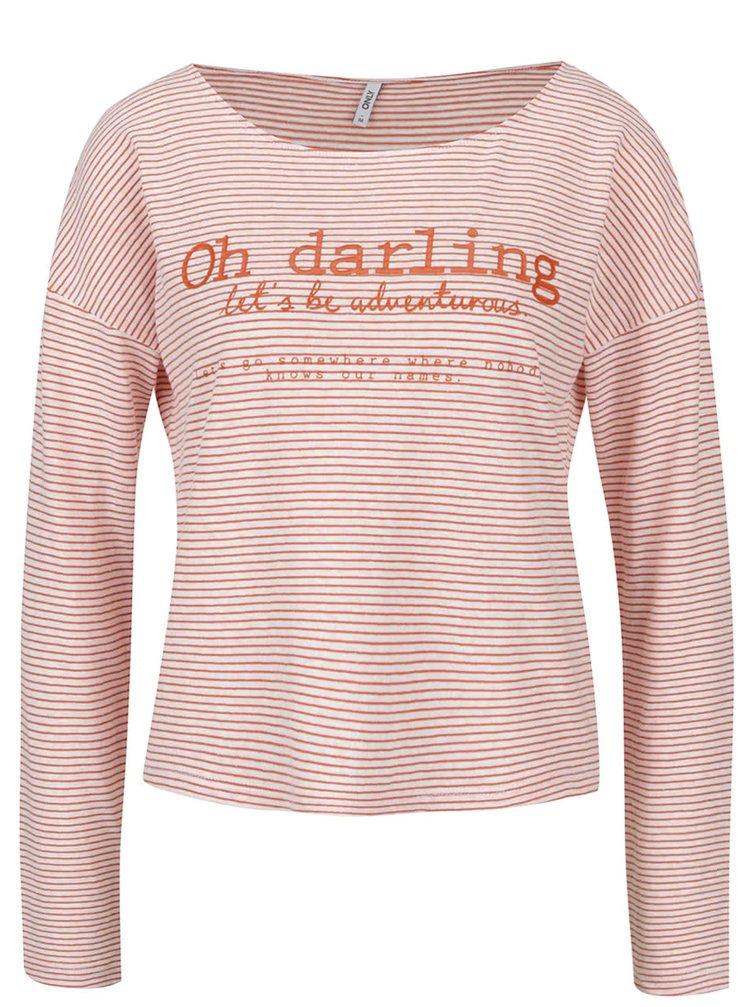 Krémovo-oranžové pruhované tričko s potiskem ONLY Lara