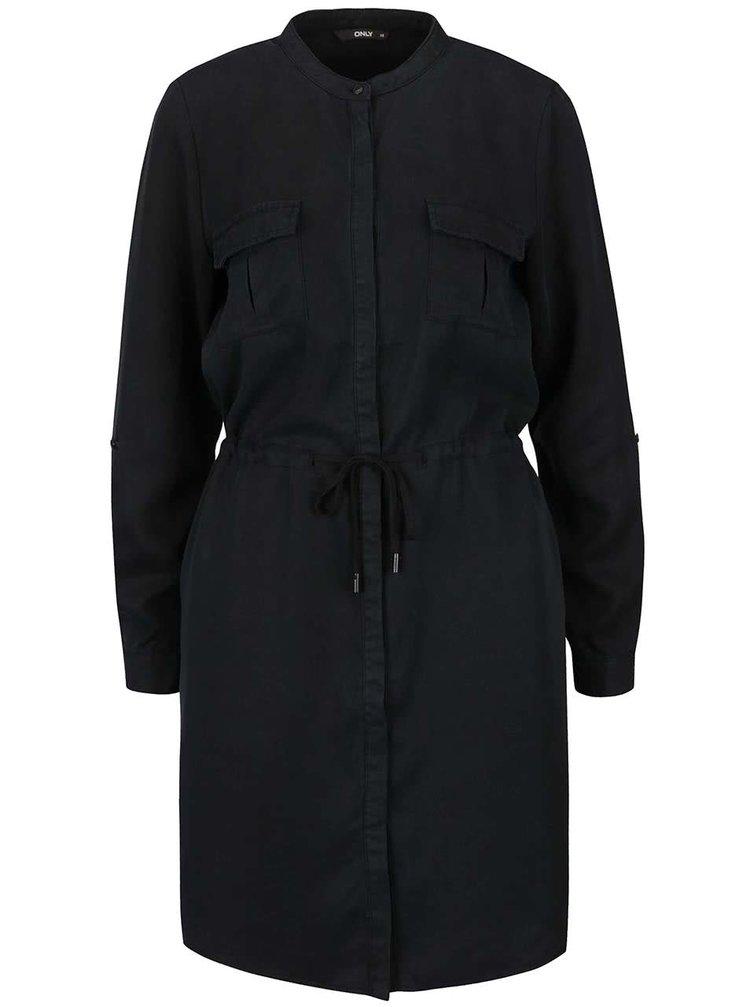 Černé košilové šaty se stahováním v pase ONLY Viola
