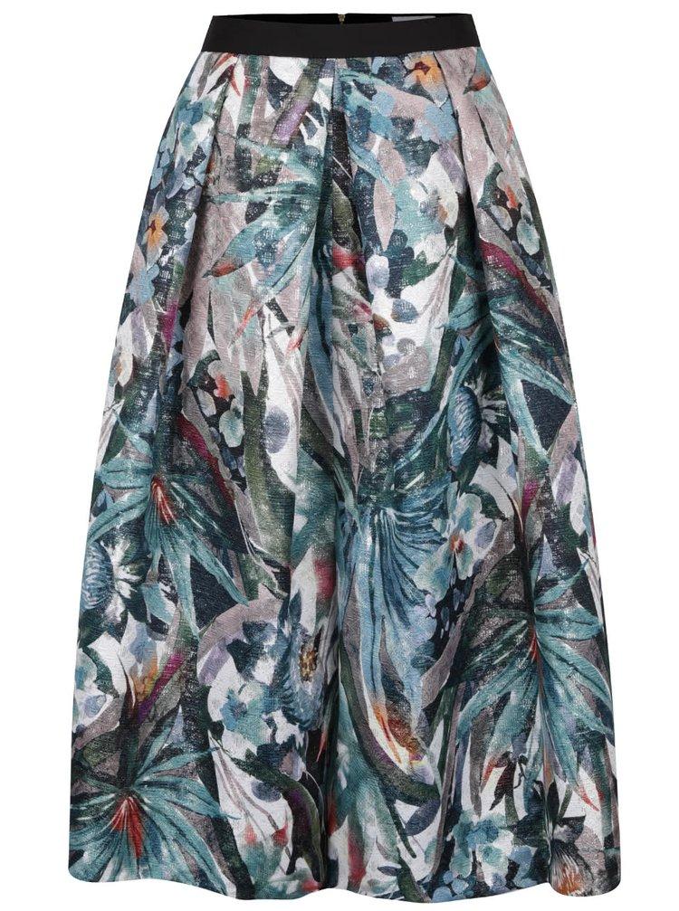 Zelená vzorovaná midi sukně s metalickými odlesky Closet