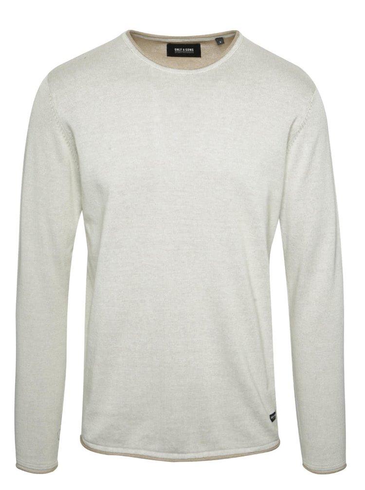 Béžový sveter s okrúhlym výstrihom ONLY & SONS Garson