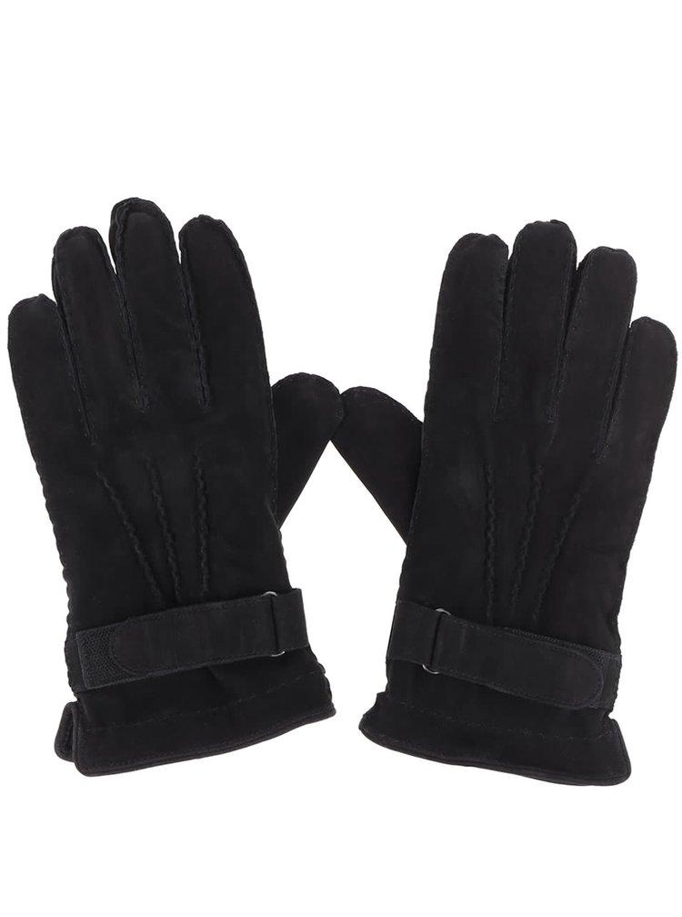 Mănuși negre s.Oliver din piele pentru bărbați