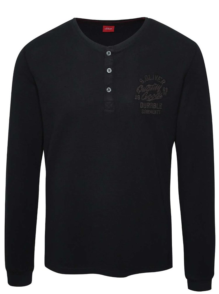 Černé pánské triko s dlouhým rukávem a knoflíky s.Oliver