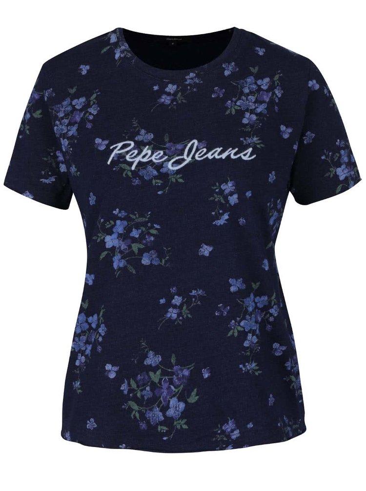 Tricou albastru melanj închis cu imprimeu floral Pepe Jeans Debbie