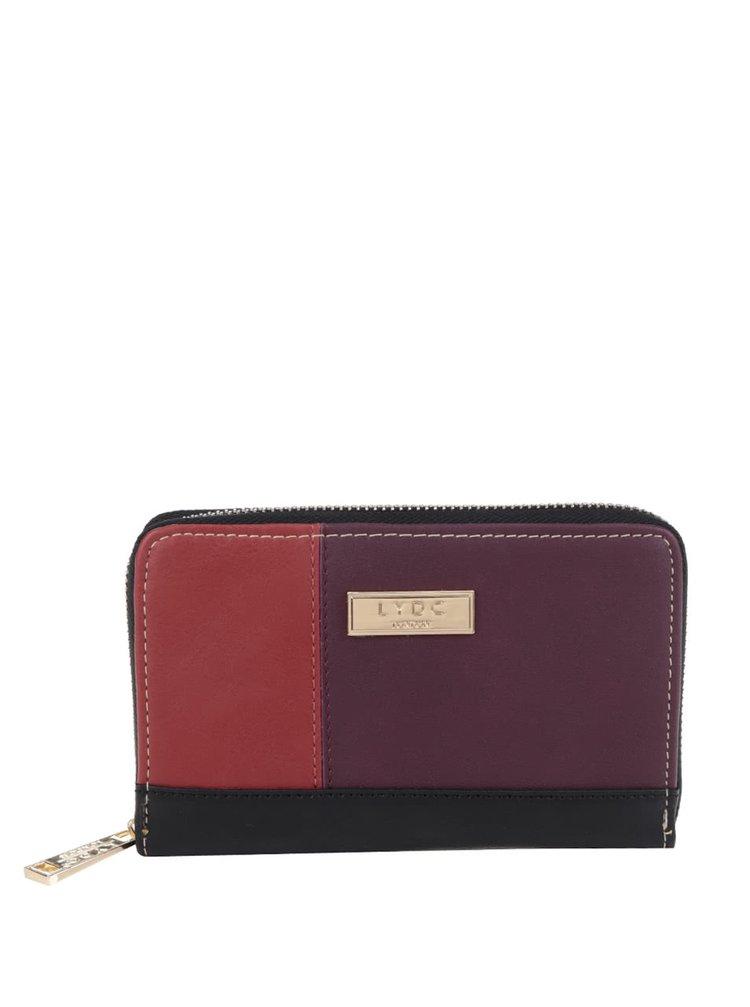 Černo-oranžovo-vínová peněženka na zip LYDC