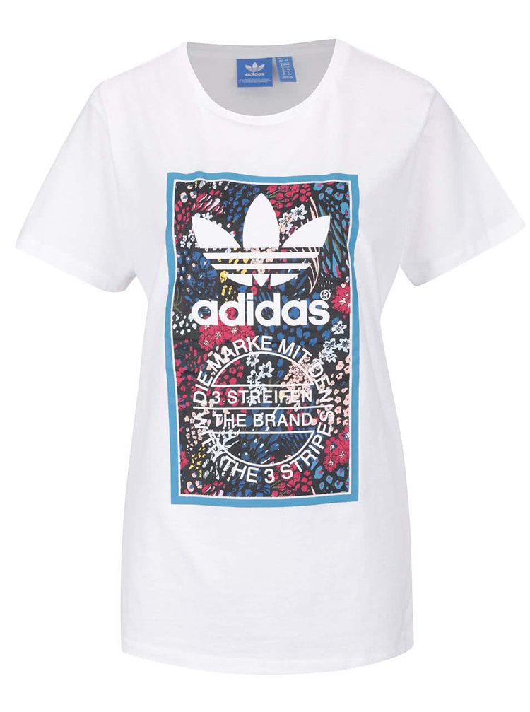Bílé dámské tričko s barevným potiskem adidas Originals