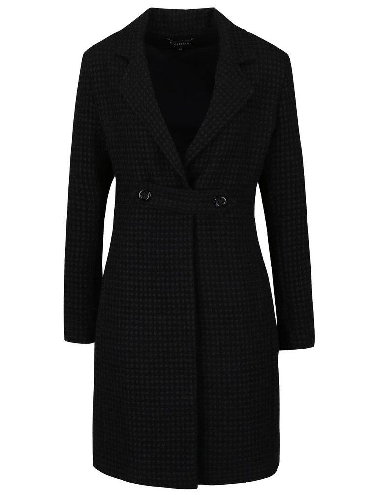 Palton negru cu model reliefat Kvinna Back to Black
