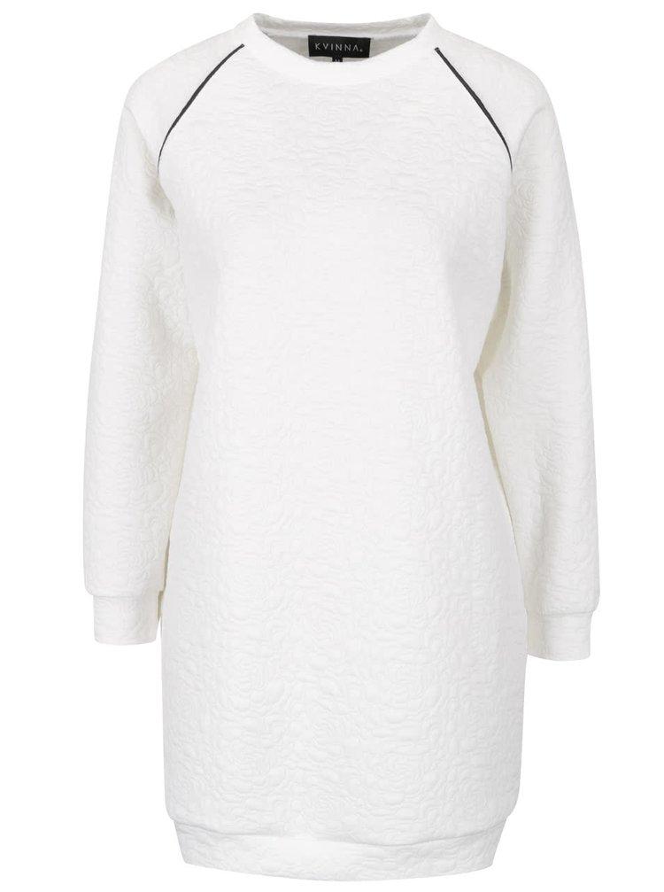 Bluză lungă albă Kvinna  cu model floral în relief