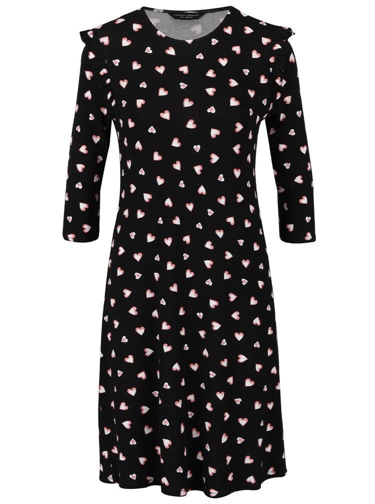 Černé šaty s potiskem srdíček Dorothy Perkins