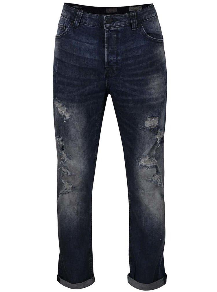 Tmavě modré  slim džíny s potrhaným efektem ONLY & SONS Loom