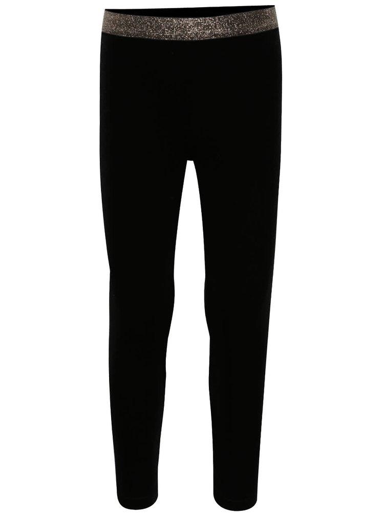 Černé sametové holčičí legíny s třpytivou gumou v pase 5.10.15.