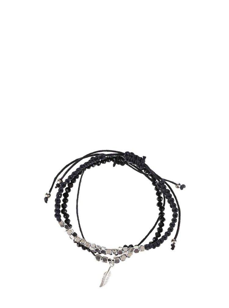 Set 3 brățări negre  Haily's cu detalii argintii
