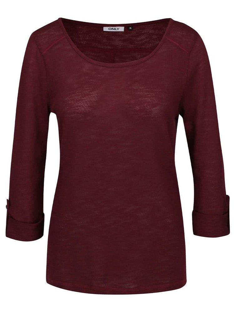 Vínové tričko s 3/4 rukávem ONLY Jess
