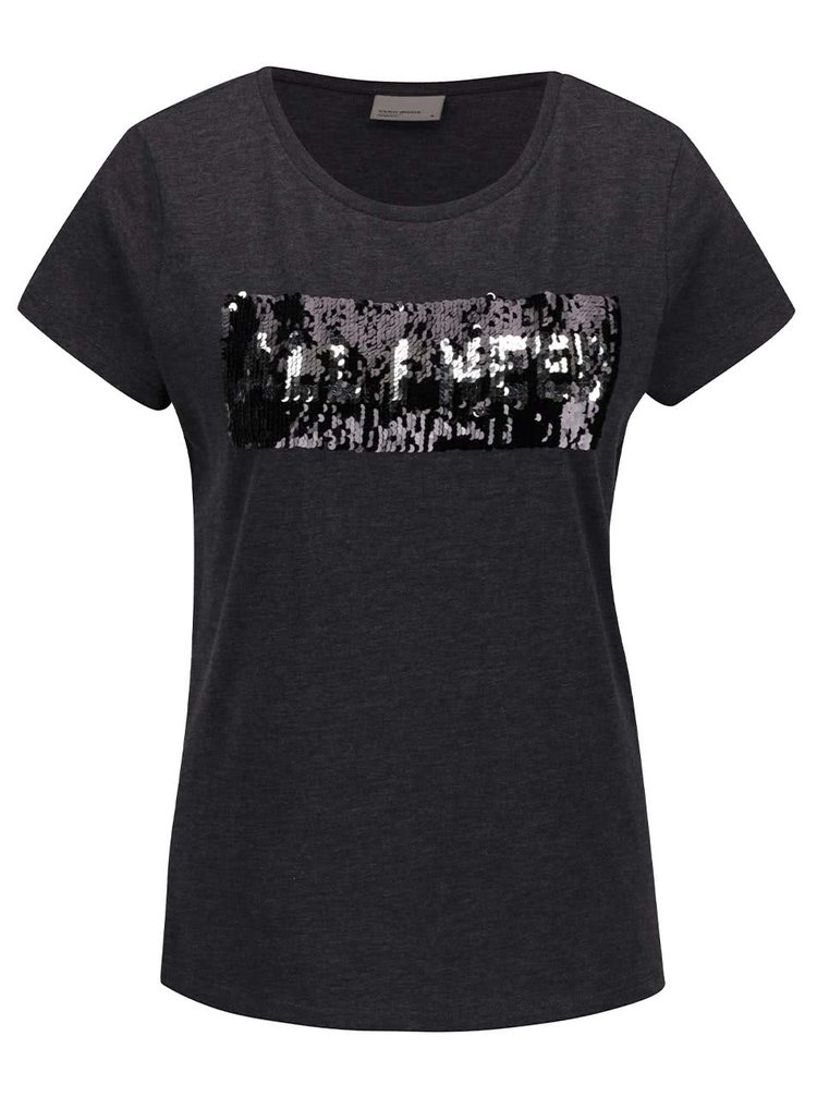 Tmavě šedé tričko s krátkým rukávem a flitry VERO MODA Coffee