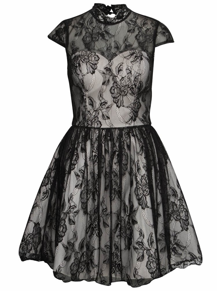 Krémovo-černé krajkové šaty Chi Chi London Darcy