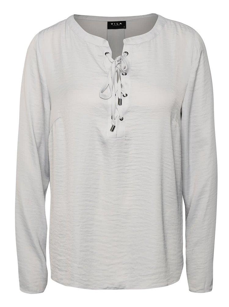 Bluză gri deschis VILA Monique cu șiret la decolteu