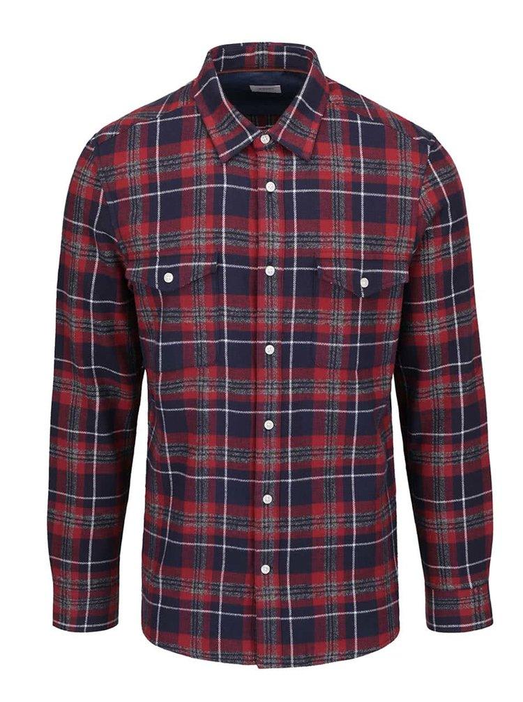 Červená flanelová kostkovaná košile Burton Menswear London